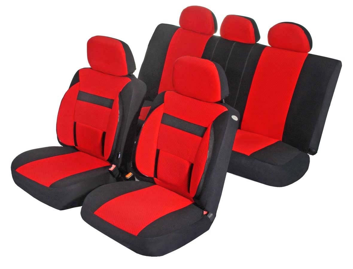 Чехлы для сидений Azard Support, универсальные, 11 предметов, цвет: красныйAV031164Универсальные чехлы из автомобильного велюра. Применимы для 95% легкового автопарка РФ. Благодаря особому крою типа В чехлы идеально облегают сидения автомобиля. Специальный боковой шов позволяет применять авто чехлы в автомобилях с боковыми подушками безопасности (AIR BAG). Ортопедическую поддержку спины и ног по достоинству оценят водители, проводящие за рулем длительное время. Раздельная схема надевания обеспечивает легкую установку авто чехлов. Дополнительное удобство создает наличие предустановленных крючков, утягивающего шнура, фиксирующей липучки на передних спинках, а также предустановленной прорези для установки подголовника. Материал триплирован огнеупорным поролоном 3 мм, за счет чего чехол приобретает дополнительную мягкость и устойчивость к возгоранию. Авточехлы Azard Support износоустойчивы и легко стирается в стиральной машине.