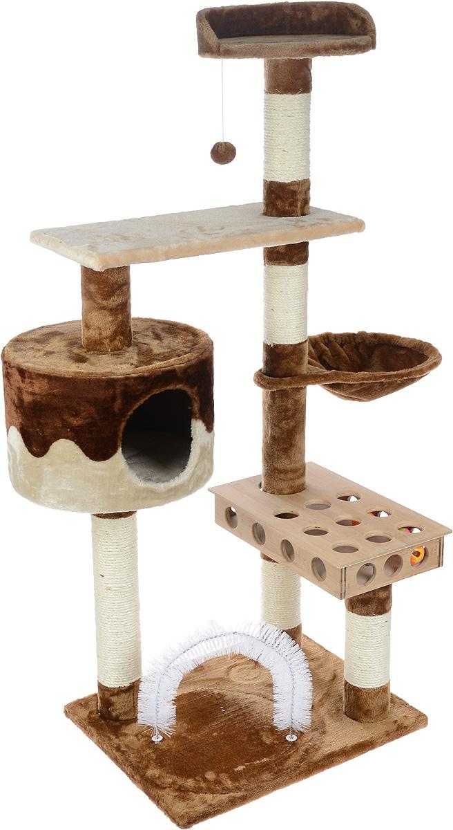 Игровой комплекс для кошек Aimigou, цвет: коричневый, бежевый, белый, 55 х 45 х 135 смQQ80399Игровой комплекс для кошек Aimigou выполнен из высококачественного ДСП и обтянут искусственным мехом. Изделие предназначено для кошек. Ваш домашний питомец будет с удовольствием точить когти о столбики, выполненные из сизаля. А отдохнуть он сможет либо на полках, либо в домике, либо на гамаке. Изделие оснащено деревянной коробкой с игрушками-погремушками и подвесной мягкой игрушкой. Общий размер: 55 х 45 х 135 см. Размер основания: 54 х 45 см. Размер нижней полки: 55 х 27 см. Размер верхней полки: 31 х 30 х 8 см. Размер гамака: 42 х 31 см. Размер домика: 37 х 37 х 25 см. Размер коробки (с учетом крышки): 44 х 26 х 7,5 см.