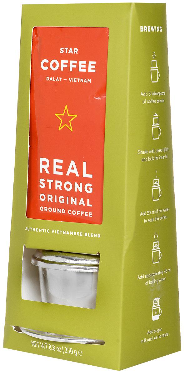 Sense Asia Star Coffee с пресс-фильтром молотый кофе, 250 г8938506647615Sense Asia Star Coffee - самый крепкий кофе в мире из провинции Далат, обжаренный в традиционном вьетнамском стиле до Французской степени обжарки. Выращенные кофейные зерна тщательно отбираются, обжариваются и смешиваются для создания сильного, насыщенного и аутентичного вкуса. Еще с давних времен Вьетнам пользовался популярностью среди гурманов и любителей крепкого кофе. В нём нет мягкости, только мощь, крепость и насыщенный аромат. В упаковке вы обнаружите сувенир из Вьетнама - настоящий национальный пресс-фильтр (Фин) для капельного заваривания кофе. Легендарный способ заваривания настоящего вьетнамского кофе с помощью одной из самых простых кофеварок в мире теперь доступен и вам. Эксплуатация пресс-фильтра рассчитана производителем на заваривание 250 г. кофе.