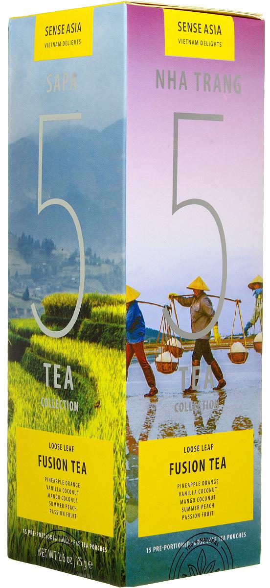 Sense Asia Vietnam Delights collection подарочный набор смешанного чая 5 Fusion Tea, 75 г0120710Подарочный набор чая Sense Asia Vietnam Delights collection - это тропические ароматы, за основу которых взяты черный чай, различные тропические фрукты и цветы. Sense Asia Vietnam Delights collection состоит из 5 видов смешанного листового чая, по 3 стикера на каждый вид. Это своеобразный тестовый набор смешанного вьетнамского чая для гурманов и начинающих ценителей.Каждый стикер внутри имеет уникальную наклейку о стране, ее людях и самых знаменитых местах. Способ заваривания чая для каждого вида индивидуален и для вашего удобства на каждом стикере размещены способы приготовления чая.Подарочный набор чая Sense Asia Vietnam Delights collection состоит из бестселлеров мирового рынка: 5 видов Смешанного Чая (Fusion Teas), Mango Coconut (Манго Кокос), Pineapple Orange Cream (Ананасово-Апельсиновые Сливки), Summer Peach (Летний Персик, Vanilla Coconut (Ваниль Кокос), Passion Fruit (Маракуйя).Уникальная упаковка – это три захватывающих панорамы самых живописных уголков Вьетнама: рисовые поля Сапы (знаменитое своими видами место на севера Вьетнама), соляные поля Ня Чанга (курортного города на юге страны), острова знаменитой бухты Халонг. Коллекция Vietnam Delights - Лучший подарок для гурманов и начинающих ценителей чая!
