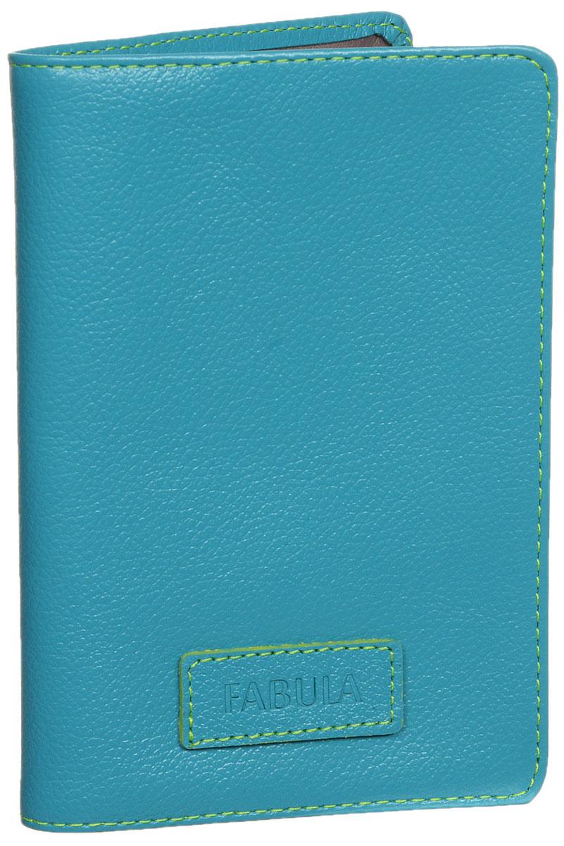 Обложка для паспорта женская Fabula Ultra, цвет: бирюзовый. O.82.FP021201_01Стильная обложка для паспорта Fabula Ultra выполнена из натуральной кожи с зернистой текстурой, оформлена нашивкой с тиснением в виде символики бренда и контрастной отстрочкой. Подкладка изготовлена из полиэстера.Изделие раскладывается пополам, внутри расположены два пластиковых кармашка.Такая обложка для паспорта станет прекрасным и стильным подарком человеку, любящему оригинальные и практичные вещи.
