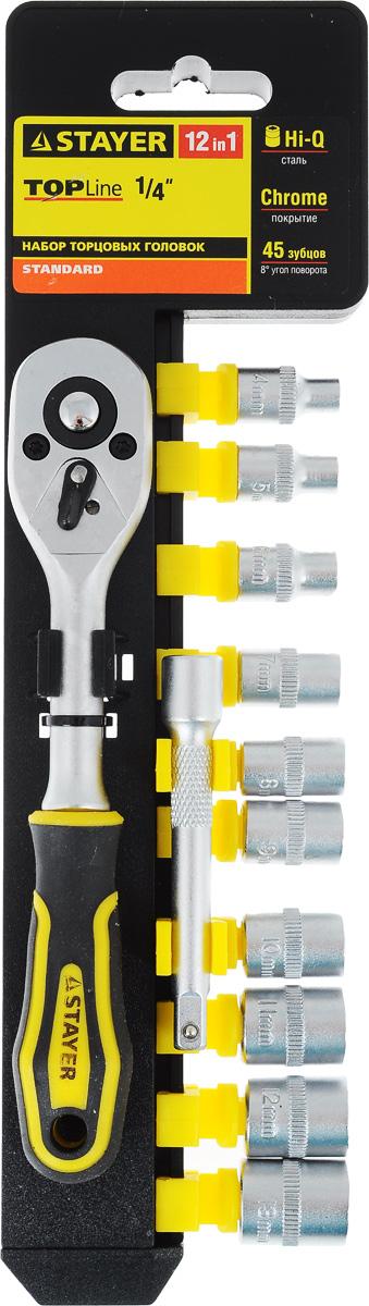 Набор инструментов Stayer Standard, 12 предметов. 27754-H1227754-H12Набор слесарно-монтажного инструмента Stayer Standard предназначен для работы с резьбовыми соединениями. Торцевые головки имеют шестигранный зев и посадочное место для присоединительного квадрата 1/4. Трещотка с храповым механизмом устраняет необходимость каждый раз устанавливать ключ на крепежный элемент. Изделия выполнены из высококачественной стали. Трещотка оснащена удобной обрезиненной рукояткой. Состав набора: Торцевые головки: 4 мм, 5 мм, 6 мм, 7 мм, 8 мм, 9 мм, 10 мм, 11 мм, 12 мм, 13 мм. Трещотка с быстрым сбросом: 45 зубцов, длина 16 см. Удлинитель: 7,5 см.