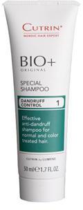 Cutrin Специальный шампунь против перхоти дорожный BIO+ Special Shampoo, 50 млFS-00103Cutrin BIO + Energen Shampoo Специальный шампунь (дорожный) эффективное ухаживающее средство за любым типом волос. Шампунь создан специально для женщин, подходит для окрашенных, завитых и вьющихся волос, для постоянного использования в любых ситуациях. Сбалансированный состав шампуня, обогащенный всеми необходимыми питательными компонентами в сочетании с витаминным комплексом и экстрактом конского каштана, дает потрясающий результат и позволяет всегда и везде иметь красивые, ухоженные роскошные волосы.Шампунь прекрасно очищает волосы, стимулирует и нормализует выработку кератина, способствует предупреждению и замедлению образования седины и выпадения волос. Мягкая формула шампуня и прекрасно сбалансированный состав это глубокое питание, увлажнение и надежная бережная защита волос и кожи головы от воздействия любых стресс- факторов внешней среды.Cutrin BIO+ Energen Shampoo это сила, красота и здоровье ваших волос. Будьте всегда неотразимы и уверены в себе каждую минуту!