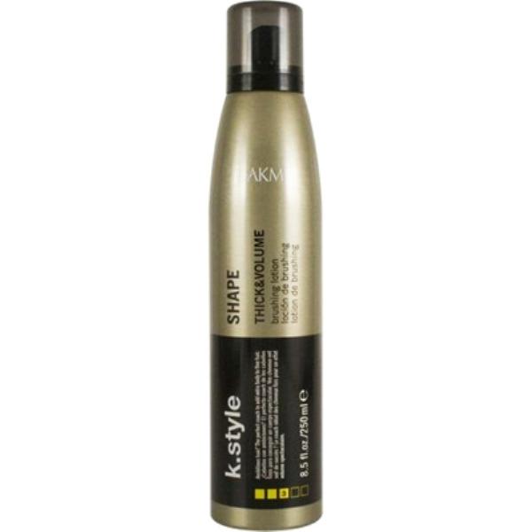 Lakme Лосьон для укладки волос, придающий объем Shape Brushing Lotion, 250 мл46413Лосьон для укладки волос Lakme K Style Shape Обеспечивает максимальный объём и эластичную фиксацию. Идеально подходит для тонких волос. Устойчив к влажности. Содержит УФ фильтры. Древесно - травяной аромат. Степень фиксации - 3