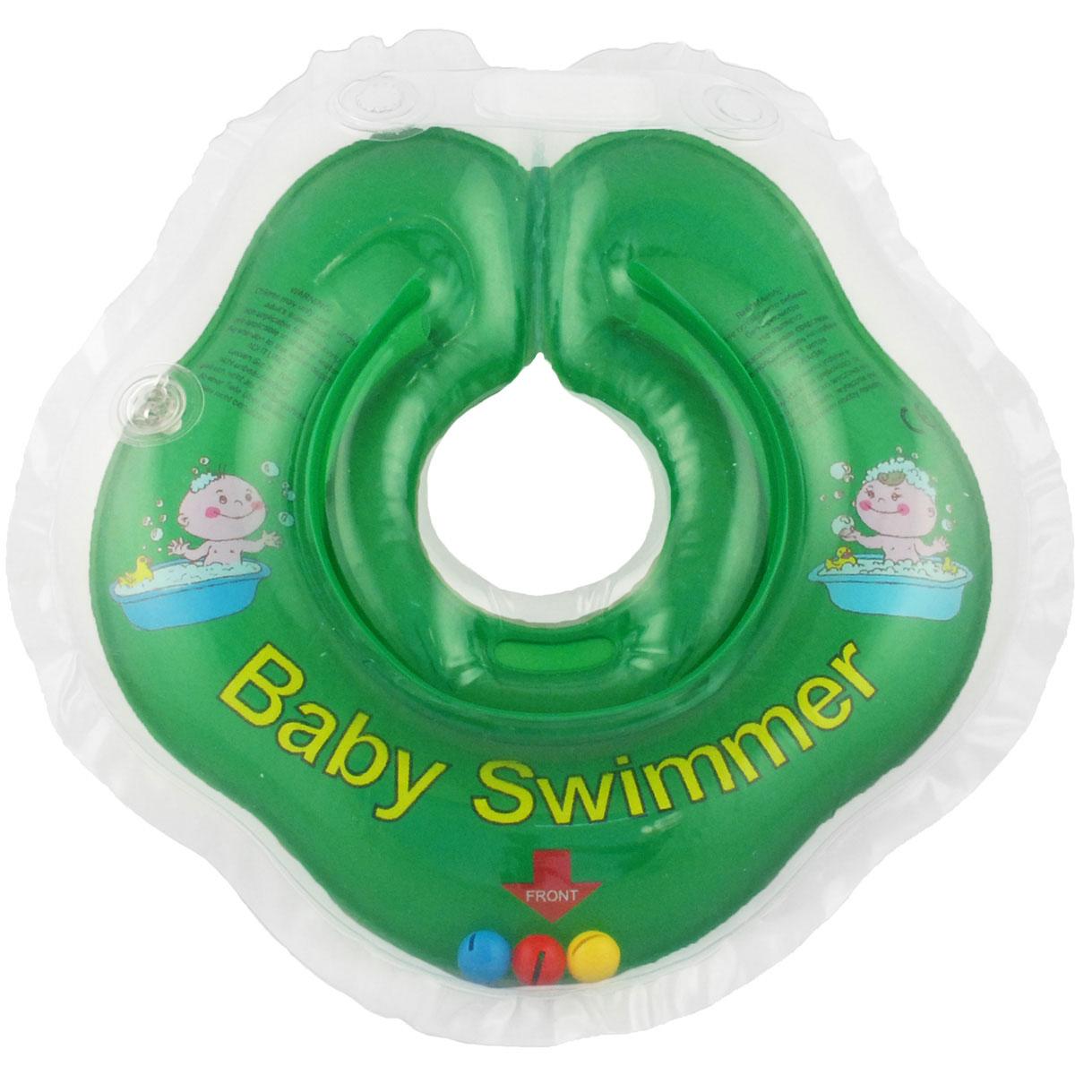 Baby Swimmer Круг на шею с погремушкой цвет зеленый 3-12 кг BS02G-B/зел_0-24мес