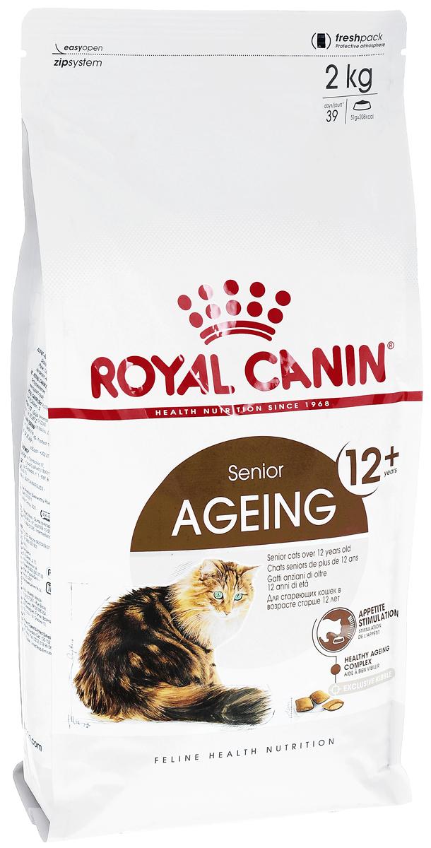Корм сухой Royal Canin Ageing +12, для кошек старше 12 лет, 2 кг0120710Сухой корм Royal Canin Ageing +12 полнорационное питание для стареющих кошек старше 12 лет.У кошек старше 12 лет процесс клеточного старения ускоряется, однако признаки его очень различаются у разных кошек. У некоторых кошек они вообще незаметны, тогда как у других наглядно проявляются физические и поведенческие изменения.Явные признаки старения, которые необходимо отслеживать у кошки:- потеря в весе, - снижение активности, - более жесткая шерсть,- поведенческие изменения,- отсутствие аппетита,- кошка становится привередливее в еде. Поддержание здоровья в старости.Корм помогает противостоять клеточному старению кошек благодаря запатентованному комплексу антиоксидантов и полифенолам зеленого чая, действие которых усиливается ликопеном. Стимулирует когнитивную функцию за счет триптофана – аминокислоты, известной своими релаксирующими свойствами. Повышенное содержание веществ-хондропротекторов и незаменимых жирных кислот поддерживает здоровье суставов стареющих кошек. Обеспечение здоровья почек: способствует поддержанию здоровья почек стареющих кошек за счет значительно пониженного адаптированного уровня фосфора (0,6%).Стимулирование аппетита: помогает стимулировать аппетит стареющих кошек благодаря высокой вкусовой привлекательности и особой двойной текстуре крокет с хрустящей оболочкой и мягкой начинкойСостав: изолят растительных белков, предварительно обработанная пшеничная мука, животные жиры, рис, дегидратированное мясо птицы, растительная клетчатка, гидролизат белков животного происхождения, кукуруза, экстракт цикория, соевое масло, рыбий жир, минеральные вещества, томаты (источник ликопена), оболочка и семена подорожника, фруктоолигосахариды, экстракт зленого чая (источник полифенолов), гидролизат дрожжей (источник маннановых олигосахаридов), гидролизат из панциря ракообразных (источник глюкозамина), масло огуречника аптечного, экстракт бархатцев прямостоячих (источник лютеина), гидролизат из