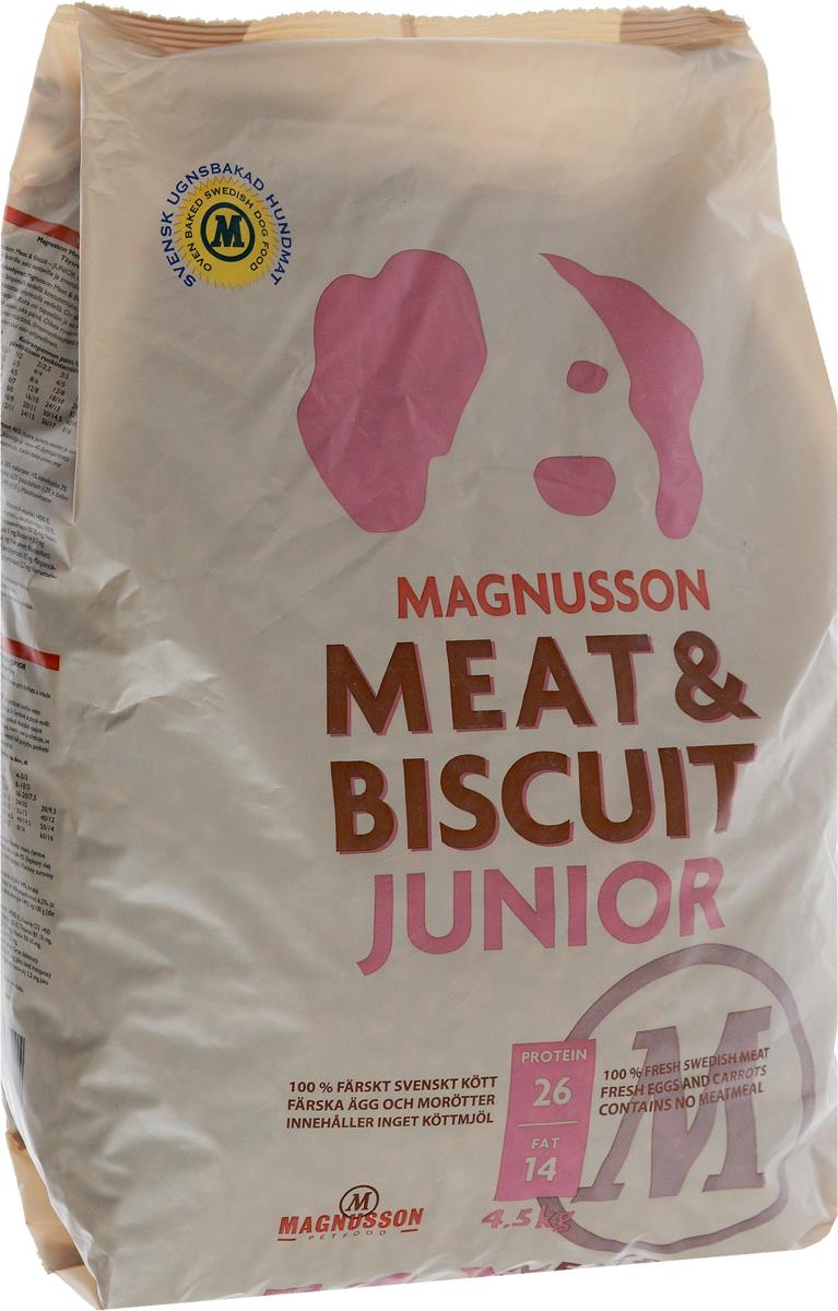 Корм сухой Magnusson Junior для щенков, беременных и кормящих сук, 4,5 кг0120710Здоровье собаки формируется в первый год жизни и самое важное в этот период - правильное кормление.Корма массового производства обрабатывают маслом для восстановления потерянных в процессе производства животных жиров. Чтобы масло не портилось добавляется консервант, чтобы консервант не горчил, а корм привлекательно пах - усилители вкуса и запаха. Иногда добавляются ферменты, помогающие переварить корм с добавками.Запекание сохраняет животные жиры, поэтому корм Magnusson Junior не обрабатывается маслом, не содержит консервант и другие химические добавки.Источником животного белка является филейная часть говядины (46% свежего мяса) без добавления мясной, рыбной, куриной муки или субпродуктов. Свежие яйца в сочетании с говядиной обеспечивают лучшее качество белка. Свежая морковь, также входящая в состав корма, является источником витамина А, регулирует углеводный обмен и оказывает положительное воздействие на работу пищеварительной системы вашей собаки.Источником углеводов является пшеница грубого помола, выращенная без применения удобрений и пестицидов. Пшеница является растительным продуктом с высокой усвояемостью, обеспечивает энергетические нужды организма, а также помогает синтезу аминокислот и ДНК - носителя генетической информации.Собаки нуждаются в витаминах и микроэлементах в небольших количествах, по сравнению с другими питательными веществами. Тем не менее, они жизненно необходимы. Для правильного формирования скелета, здоровых и крепких костей щенку нужны кальций и витамин D, а беременным и кормящим сукам - кальций и фосфор. Дневная норма витаминов и микроэлементов в достаточном количестве для здорового роста и развития вашей собаки уже содержатся в данном корме.Для щенков в возрасте от 3 недель корм необходимо давать в виде каши. Используйте блендер или просто залейте корм чистой водой и через несколько минут размешайте ложкой до состояния каши.Щенкам от 7-8 недель и взрослым с