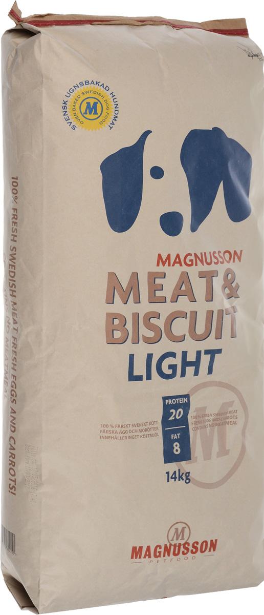 Корм сухой Magnusson Light для собак, склонных к избыточному весу, 14 кг7350033852255Корм с высоким содержанием белка слишком богат энергией, что может усложнить задачу сохранения нормального веса малоактивной собаки и привести к чрезмерно быстрому росту и ожирению. Это все может негативно отразиться на костях и суставах. Хорошим способом сохранить форму собаки является употребление корма Magnusson Light с меньшим содержанием белка и жира, обеспечивающим вашего питомца сбалансированным количеством энергии. Источником животного белка является филейная часть говядины (34% свежего мяса) без добавления мясной, рыбной, куриной муки или субпродуктов. Свежие яйца в сочетании с говядиной обеспечивают лучшее качество белка. Свежая морковь, также входящая в состав корма, является источником витамина А, регулирует углеводный обмен и оказывает положительное воздействие на работу пищеварительной системы вашей собаки. Источником углеводов является пшеница грубого помола, выращенная без применения удобрений и пестицидов. Пшеница является растительным...