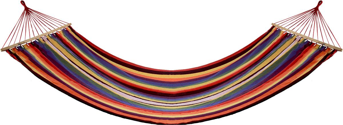 Гамак Wildman Оазис, цвет: оранжевый, красный, синий, 150 х 200 см81-179Прочный гамак Wildman Гавана, изготовленный из высококачественного хлопка и полиэстера, внесет дополнительный комфорт в ваш отдых на даче, в походе или на пикнике. Изделие оснащено деревянным каркасом. Гамак - Это место для отдыха, кровать, парящая над землей, ему всегда будут рады и на приусадебном участке, и в доме, и в квартире. Гамаки способны сделать уютным и удобным любой летний отдых. Поход в лес - и качественный гамак станет местом для сна. Поездка за город - и он превратится в личный уголок, где можно полежать с книжкой, подремать, скрыться от суеты и солнца.