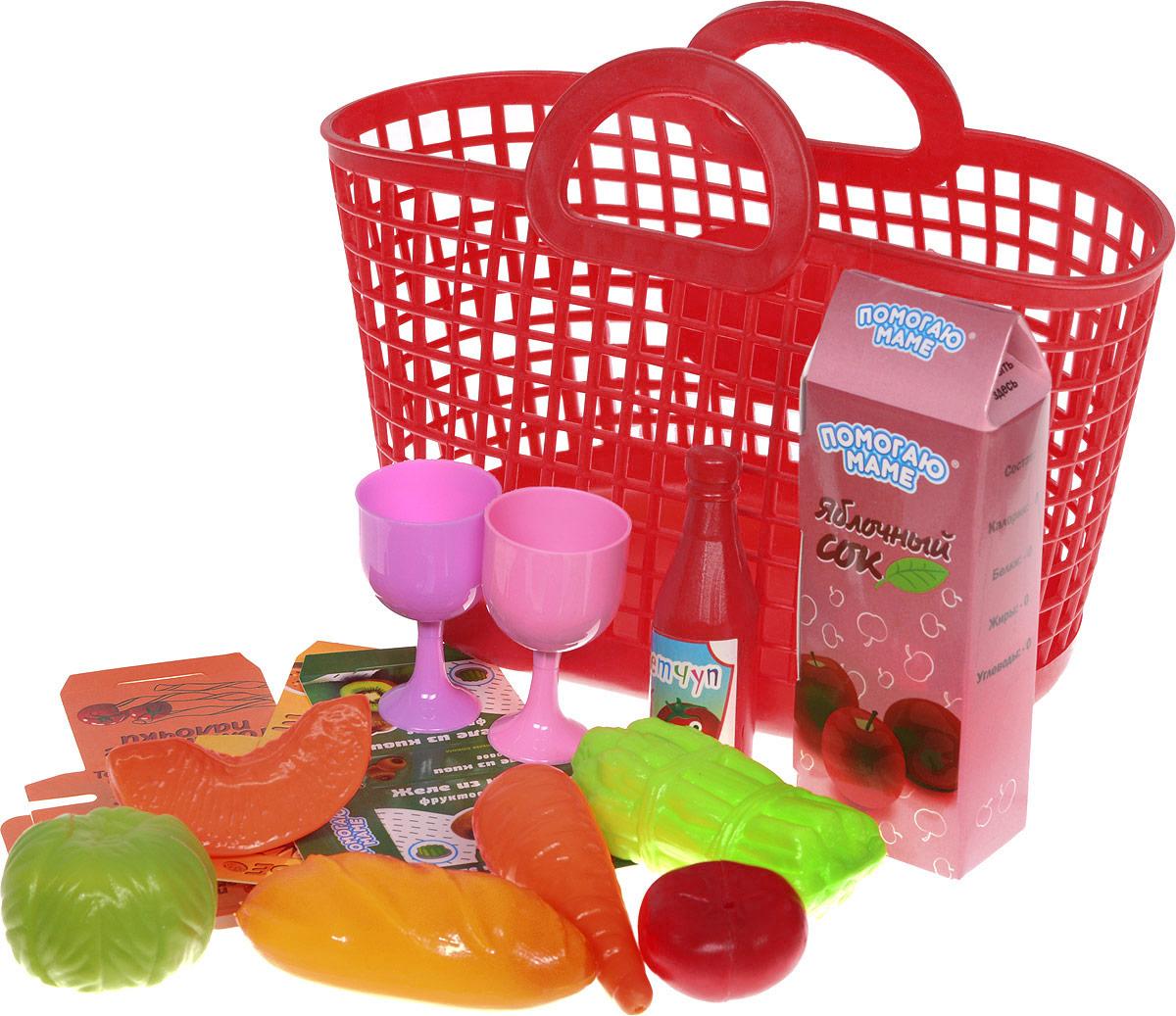 ABtoys Набор продуктов в корзине 14 предметов цвет красный