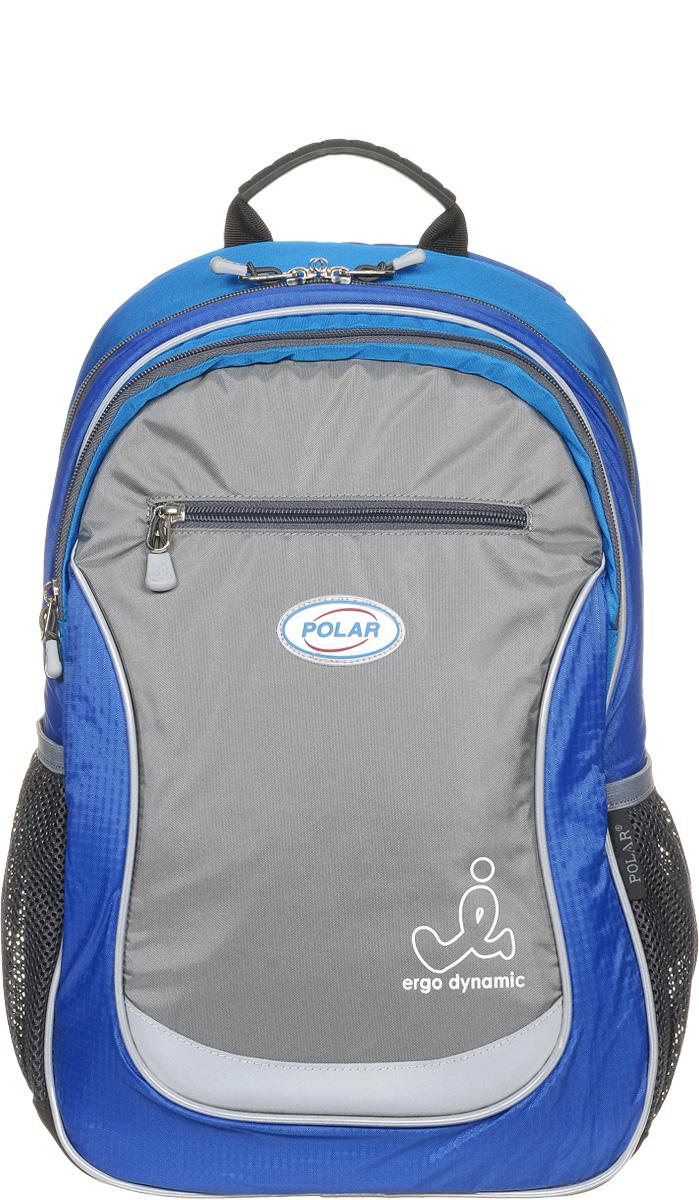 Рюкзак детский городской Polar, 17,5 л, цвет: синий. П0087-04П0087-04Школьный рюкзак Polar. У рюкзака 2 отделения и несколько карманов для мелких принадлежностей. В большом отделение имеется карман под ноутбук диагональю 14. Спинка эргономичной формы, повторяет контур спины ребенка, тем самым равномерно распределяет нагрузку на позвоночник. Полумягкое дно для безопасности ношения. С обеих сторон имеются карманы для бутылок с водой. Светоотражатели спереди и сзади школьного рюкзака. Гибкая петля для того, чтобы подвесить ранец на крючок. Подходит для 1-6 классов.