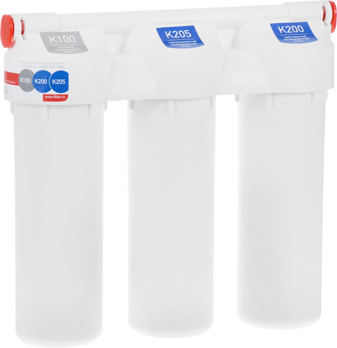 Фильтр под мойку Prio Praktic, для сильно хлорированной водыEU 200Фильтр под мойку Prio Praktic обеспечивает универсальную очистку водопроводной воды от распространенных загрязнителей: механических примесей (ржавчины, ила, песка), свободного хлора, хлорорганических соединений, пестицидов, гербицидов, сельскохозяйственных удобрений и продуктов их распада, фенолов, нефтепродуктов, алюминия, тяжелых металлов, радиоактивных элементов и иных органических и неорганических веществ. Устраняет неприятные запахи, улучшает вкус воды. Рекомендуется для регионов с водой, характеризующейся нормальным и пониженным содержанием солей жесткости. Выдерживает давление воды до 28 Атм. В комплект уже входят картриджи, отдельный кран для очищенной воды и все необходимое для быстрой установки фильтра на месте эксплуатации. Установленные картриджи: Картридж механической очистки K100. Нетканый полимер 5 мкм. Сорбционный картридж K205. Гранулированный активированный уголь из скорлупы кокосового ореха. Сорбционный картридж K200....