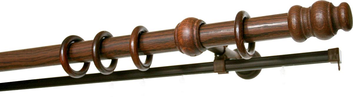 Карниз двухрядный Уют, деревянный, составной, цвет: темная вишня, диаметр 28 мм, длина 2,75 м790009Двухрядный круглый карниз Уют Ост выполнен из высококачественного дерева. Подходит для использования двух видов занавесей. Поверхность гладкая. Способ крепления настенное.В комплект входят 2 штанги, 4 наконечника, 3 кронштейна с крепежом и 56 колец с крючками.Такой карниз будет органично смотреться в любом интерьере.Диаметр карниза: 28 мм.
