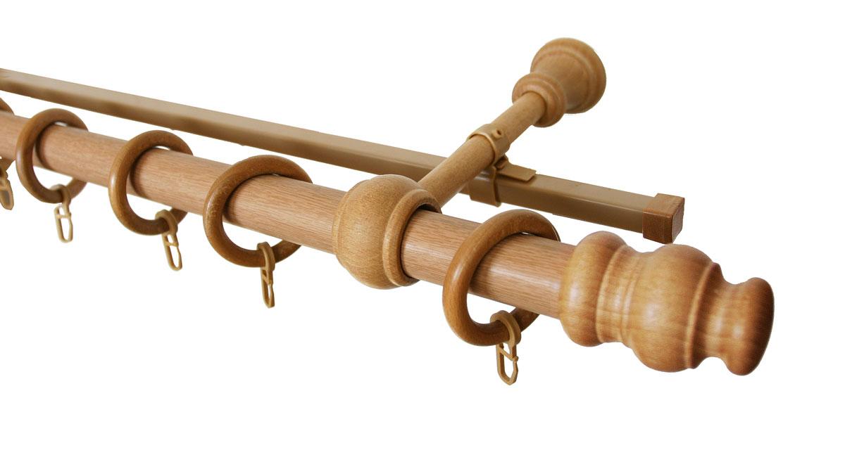 Карниз двухрядный Уют, деревянный, составной, цвет: светлый дуб, диаметр 28 мм, длина 3 м28.02ТО.35С.300Двухрядный круглый карниз Уют выполнен из высококачественного дерева. Подходит для использования двух видов занавесей. Поверхность гладкая. Способ крепления настенное. В комплект входят 2 штанги, 4 наконечника, 3 кронштейна с крепежом и 60 колец с крючками. Такой карниз будет органично смотреться в любом интерьере. Диаметр карниза: 28 мм.