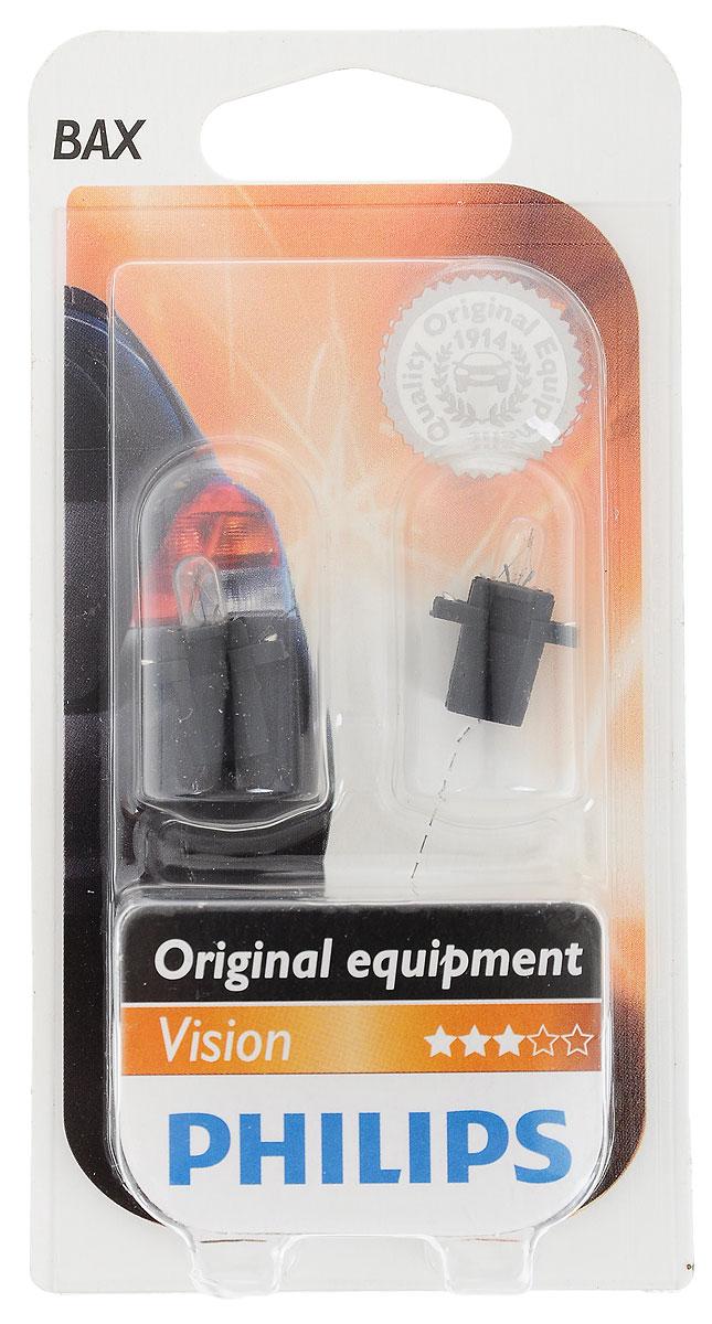 Лампа автомобильная Philips BAX 8,3 12 В, 1,2 Вт. 12597B2S03301004Нашим лампам для панели приборов отдают предпочтение основные производители автомобилей. Лучшее в своем классе качество по доступной цене.