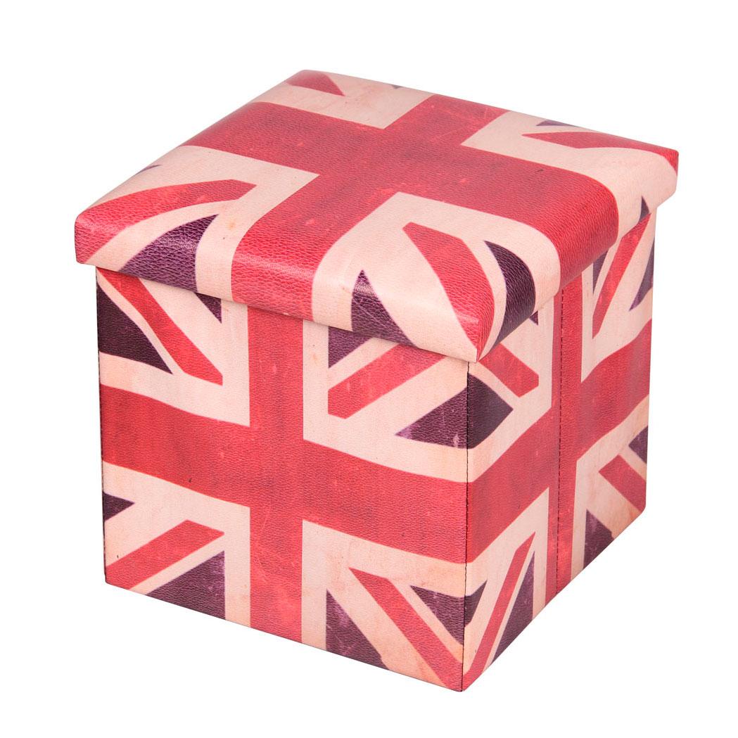 Пуф-короб для xранения Miolla, 38 x 38 x 38 см. PSS-1419201Пуф-короб Miolla создан, чтобы сделать хранение вещей не только удобным, но и стильным. Яркие цвета Британского флага снаружи скрывают внутри идеальное функциональное пространство для хранения необходимых мелочей и аксессуаров. Несмотря на внешне компактные размеры, пуф-короб очень вместителен и определенно станет незаменимой вещью в любом доме.