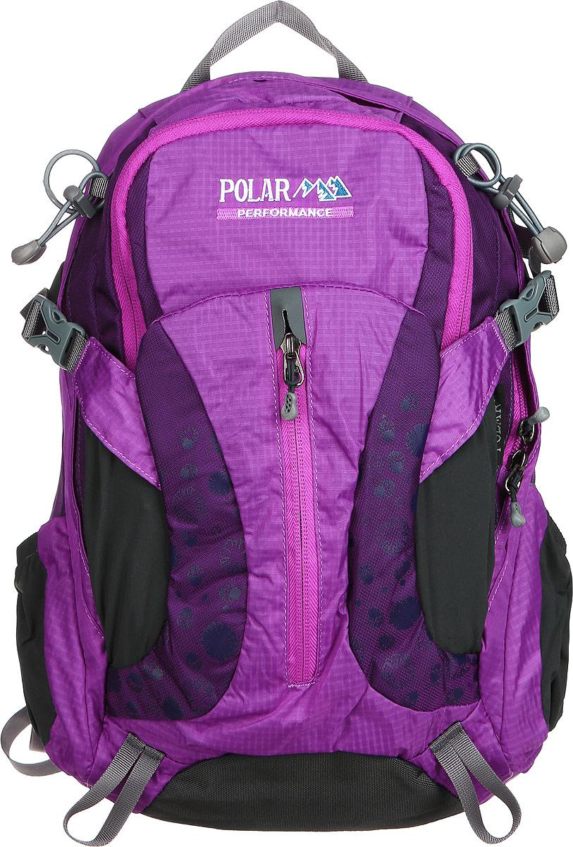Рюкзак городской Polar, 14,5 л, цвет: фиолетовый. П1552-12D-245/19Женский компактный рюкзак с модным дизайном. Полностью вентилируемая спинка с системой Aircomfort, мягкие плечевые лямки создают дополнительный комфорт при ношении. Центральный отсек для персональных вещей и карманом для папки А4. Большой передний карман с органайзером, внутри удобный мягкий пенал на карабине. Два боковых кармана под бутылку с водой на резинке. Регулирующая грудная стяжка с удобным фиксатором. Регулирующий поясной ремень, удерживает плотно рюкзак на спине, что очень удобно при езде на велосипеде или продолжительных походах.