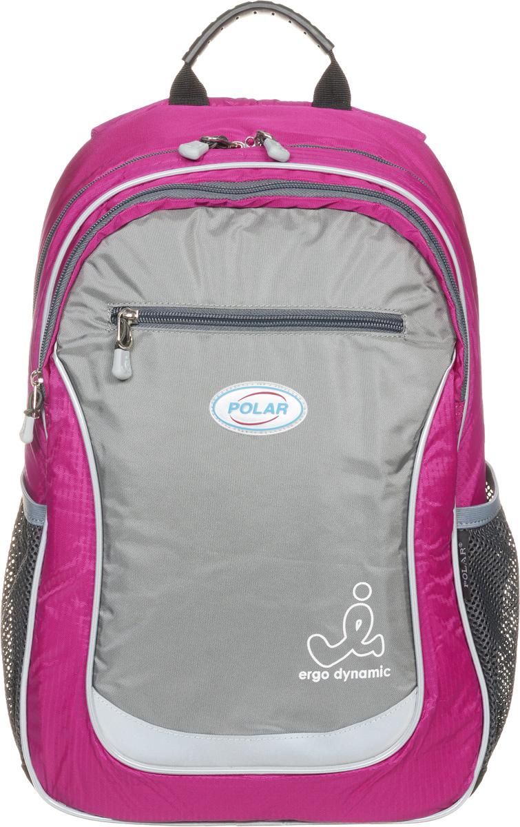 Рюкзак детский городской Polar, 17,5 л, цвет: розовый. П0087-16SCCB-UT1-691Школьный рюкзак Polar. У рюкзака 2 отделения и несколько карманов для мелких принадлежностей. В большом отделение имеется карман под ноутбук диагональю 14. Спинка эргономичной формы, повторяет контур спины ребенка, тем самым равномерно распределяет нагрузку на позвоночник. Полумягкое дно для безопасности ношения. С обеих сторон имеются карманы для бутылок с водой. Светоотражатели спереди и сзади школьного рюкзака. Гибкая петля для того, чтобы подвесить ранец на крючок. Подходит для 1-6 классов.