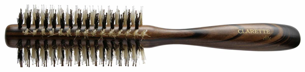 Clarette Щетка для волос круглая, цвет: коричневыйCEB 344Clarette Elite представляет серию Шоколад. Это интересная коллекция инструментов по уходу за волосами. Она несомненно понравится покупателям, которые ценят стиль и качество. Инструменты Коллекции изготовлены из натурального дерева, имеющего оригинальный окрас. Натуральная щетина дикого кабана придает волосам блеск, предостерегает ломкость и сечение волос. Уникально расположенная V-образная пластиковая щетина позволяет более тщательно распутывать и прочесывать волосы, быстрей и эффективней, придавая им необходимую форму при укладке. Инструменты предназначены как для домашнего, так и для профессионального использования.