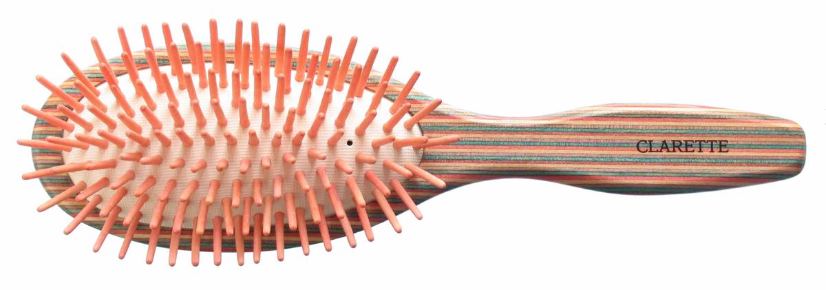 Clarette Щетка для волос массажная на подушке большая, цвет: красныйCTB 217Clarette представляет эксклюзивную коллекцию инструментов по уходу за волосами из натурального дерева. Коллекция Clarette Цветное дерево-это расчески и щетки для волос из натурального дерева. Коллекция выполнена в оригинальной радужной цветовой гамме по специальной технологии. Окрашенная в различные цвета, основа щетки, как бы повторяет структуру натурального дерева в срезе. Это делает коллекцию яркой и неповторимой. Щетка с натуральными, деревянными зубьями бережно ухаживает за волосами, не повреждая их структуру.
