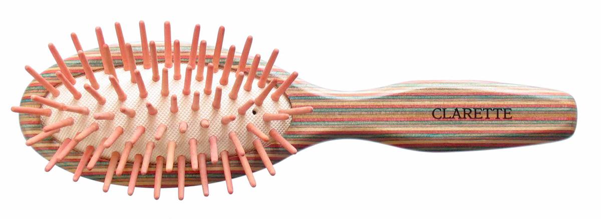 Clarette Щетка для волос массажная на подушке малая, цвет: красныйCTB 218Clarette представляет эксклюзивную коллекцию инструментов по уходу за волосами из натурального дерева. Коллекция Clarette Цветное дерево-это расчески и щетки для волос из натурального дерева. Коллекция выполнена в оригинальной радужной цветовой гамме по специальной технологии. Окрашенная в различные цвета, основа щетки, как бы повторяет структуру натурального дерева в срезе. Это делает коллекцию яркой и неповторимой. Щетка с натуральными, деревянными зубьями бережно ухаживает за волосами, не повреждая их структуру. Компактный размер щетки делает ее удобной в дороге. Легко помещается в дамской сумочке