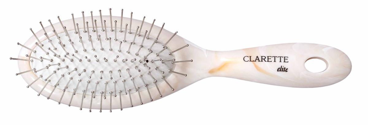 Clarette Щетка для волос на подушке с металлическими зубцами компакт, цвет: бежевыйCEM 351Коллекция Clarette Elite Легкий Мрамор представляет элитную серию щеток и брашингов для расчесывания и укладки. волос любого типа. Коллекция выполена в стиле мрамора и выглядит очень элегантно. Изготовлена из высокотехнологичичного облегченного пластика. . Благодаря мягкости подушки, идеально подходит для расчесывания тонких, ослабленных волос. Металлические зубья с массажными шариками на концах обеспечивают деликатный массаж кожи головы, стимулируя рост волос. Уникальная форма металлических зубьев защищает их от продавливания, тем самым увеличивая срок службы щетки. Компактный размер щетки делает ее удобной в дороге. Легко помещается в дамской сумочке