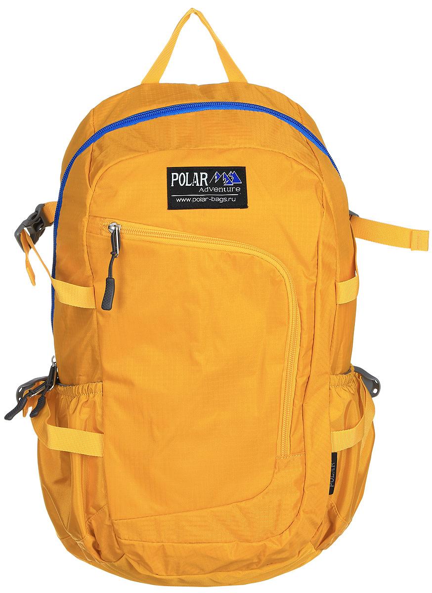Рюкзак городской Polar, 17 л, цвет: желтый. П2171-03LSCB-UT1-E150Городской рюкзак Polar с модным дизайном изготовлен из водоотталкивающей ткани RipStop. Имеет один большой отдел, внутри которого расположен небольшой карман на молнии и большой открытый карман на резинке. Снаружи накладной карман на молнии с расположенным внутри органайзером. По бокам расположены карманы на резинках. Также имеются боковые стяжки для регулирования объема рюкзака. Удобная мягкая спинка, мягкие плечевые лямки создают дополнительный комфорт при ношении. На лямках расположена грудная стяжка, регулируемая по необходимой высоте и длине. Сверху петля для переноски.