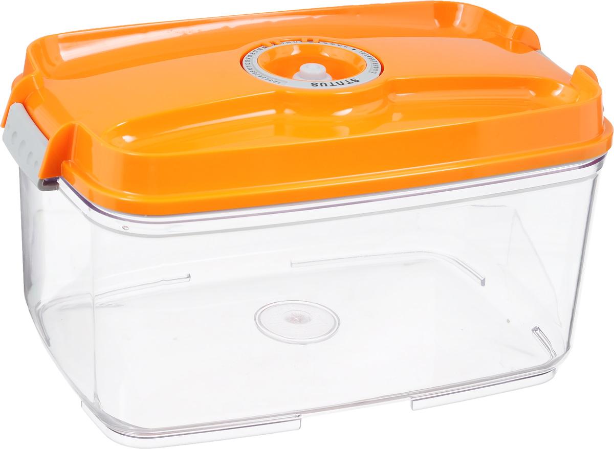 Контейнер вакуумный Status, с индикатором даты срока хранения, цвет: прозрачный, оранжевый, 4,5 лVAC-REC-45 OrangeВакуумный контейнер Status выполнен из хрустально-прозрачного прочного тритана. Благодаря вакууму, продукты не подвергаются внешнему воздействию, и срок хранения значительно увеличивается, сохраняют свои вкусовые качества и аромат, а запахи в холодильнике не перемешиваются. Допускается замораживание до -21°C, мойка контейнера в посудомоечной машине, разогрев в СВЧ (без крышки). Рекомендовано хранение следующих продуктов: макаронные изделия, крупа, мука, кофе в зёрнах, сухофрукты, супы, соусы. Контейнер имеет индикатор даты, который позволяет отмечать дату конца срока годности продуктов. Размер контейнера (с учетом крышки): 29,5 х 18,5 х 15,5 см.