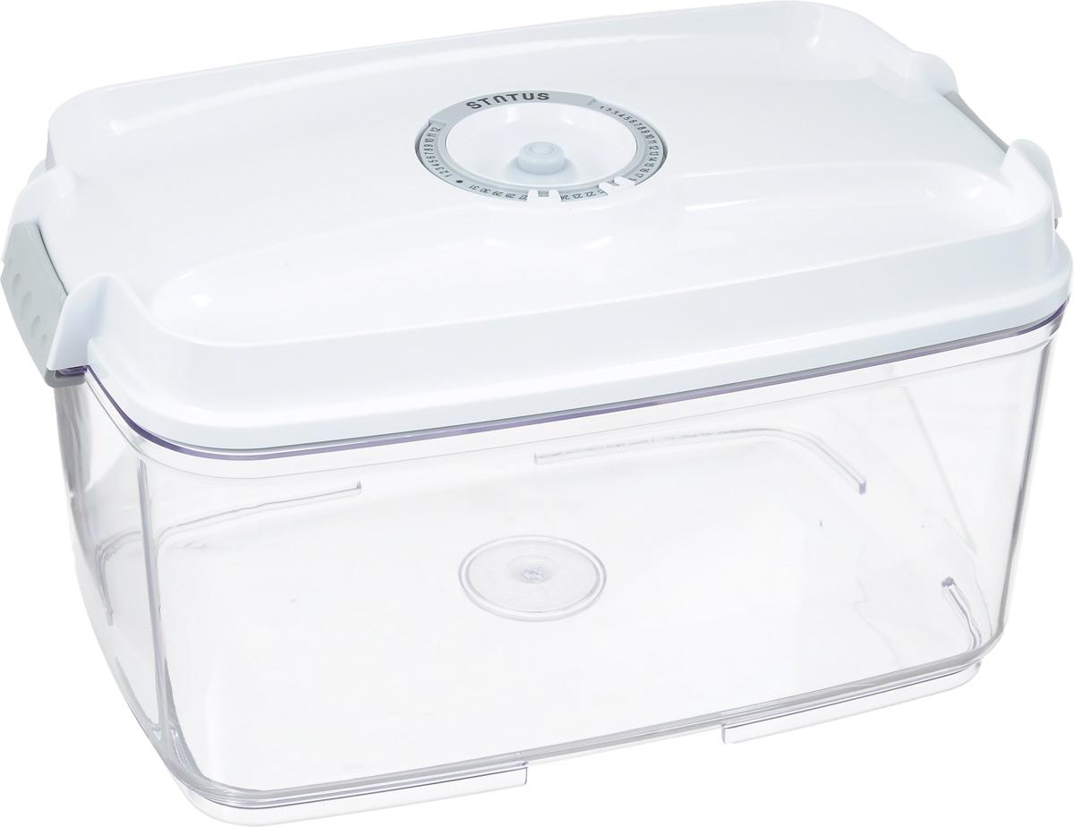 Контейнер вакуумный Status, с индикатором даты срока хранения, цвет: прозрачный, белый, 4,5 лVAC-REC-45 WhiteВакуумный контейнер Status выполнен из хрустально-прозрачного прочного тритана. Благодаря вакууму, продукты не подвергаются внешнему воздействию, и срок хранения значительно увеличивается, сохраняют свои вкусовые качества и аромат, а запахи в холодильнике не перемешиваются. Допускается замораживание до -21°C, мойка контейнера в посудомоечной машине, разогрев в СВЧ (без крышки). Рекомендовано хранение следующих продуктов: макаронные изделия, крупа, мука, кофе в зёрнах, сухофрукты, супы, соусы. Контейнер имеет индикатор даты, который позволяет отмечать дату конца срока годности продуктов. Размер контейнера (с учетом крышки): 29,5 х 18,5 х 15,5 см.