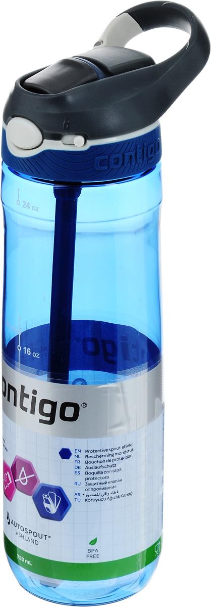 Бутылка для воды Contigo Ashland, цвет: белый, серый, синий, 720 млcontigo0455Бутылка для воды Contigo Ashland изготовлена из высококачественного прозрачного пластика, безопасного для здоровья. Закручивающаяся крышка с герметичным клапаном для питья обеспечивает защиту от проливания. Оптимальный объем бутылки позволяет взять небольшую порцию напитка. Она легко помещается в сумке или рюкзаке и всегда будет под рукой. Изделие имеет мерную шкалу, которая позволит контролировать количество жидкости. Такая идеальная бутылка небольшого размера, но отличной вместимости наполняет оптимизмом, даря заряд позитива и хорошего настроения. Бутылка для воды Contigo Ashland - отличное решение для прогулки, пикника, автомобильной поездки, занятий спортом и фитнесом. Высота бутылки (с учетом крышки): 26,5 см. Диаметр дна: 6,5 см.