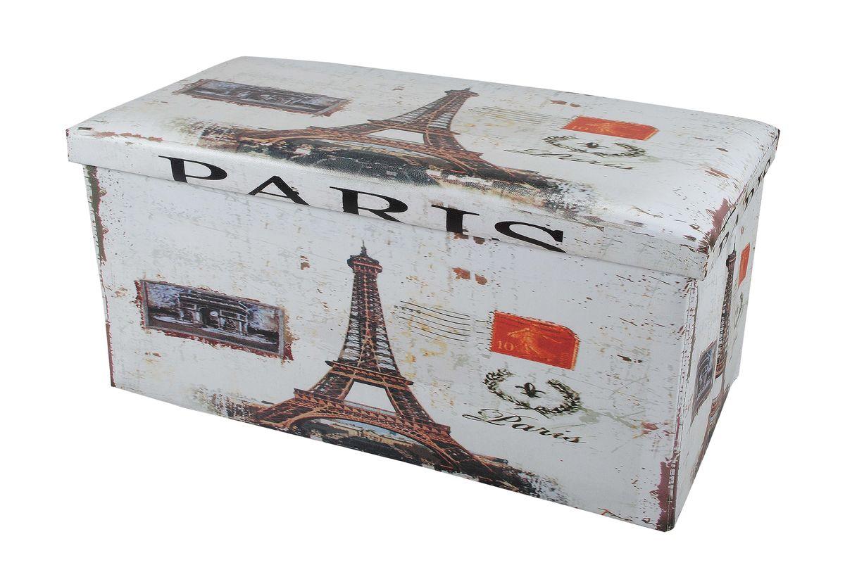 Пуф-короб для хранения HomeMaster Париж, 76 х 38 х 38 смOT00467Очаровательный пуф-короб для хранения HomeMaster Париж - удобный, компактный и стильный предмет интерьера. Изделие отличает актуальный дизайн и многофункциональность. На пуфе комфортно сидеть - он выдерживает вес до 90 кг. Верхняя часть пуфа представляет собой съемную мягкую крышку. Внутри можно хранить небольшие предметы домашнего обихода. Пуф-короб складной, благодаря чему его удобно хранить и перевозить. Такой пуф-короб займет достойное место в вашей гостиной или прихожей, а яркий рисунок с нотками парижских мотивов впишется практически в любой интерьер.