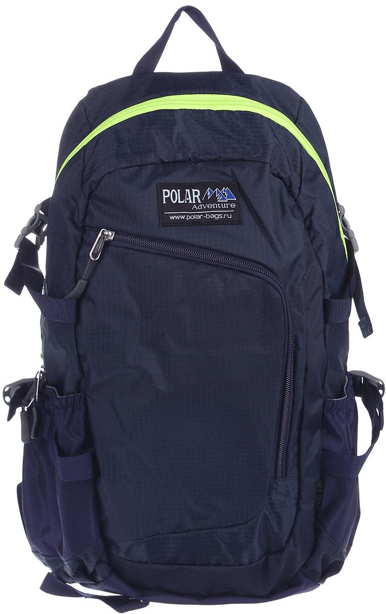 Рюкзак городской Polar, 17 л, цвет: синий. П2171-04BP-001 BKГородской рюкзак Polar с модным дизайном изготовлен из водоотталкивающей ткани RipStop. Имеет один большой отдел, внутри которого расположен небольшой карман на молнии и большой открытый карман на резинке. Снаружи накладной карман на молнии с расположенным внутри органайзером. По бокам расположены карманы на резинках. Также имеются боковые стяжки для регулирования объема рюкзака. Удобная мягкая спинка, мягкие плечевые лямки создают дополнительный комфорт при ношении. На лямках расположена грудная стяжка, регулируемая по необходимой высоте и длине. Сверху петля для переноски.