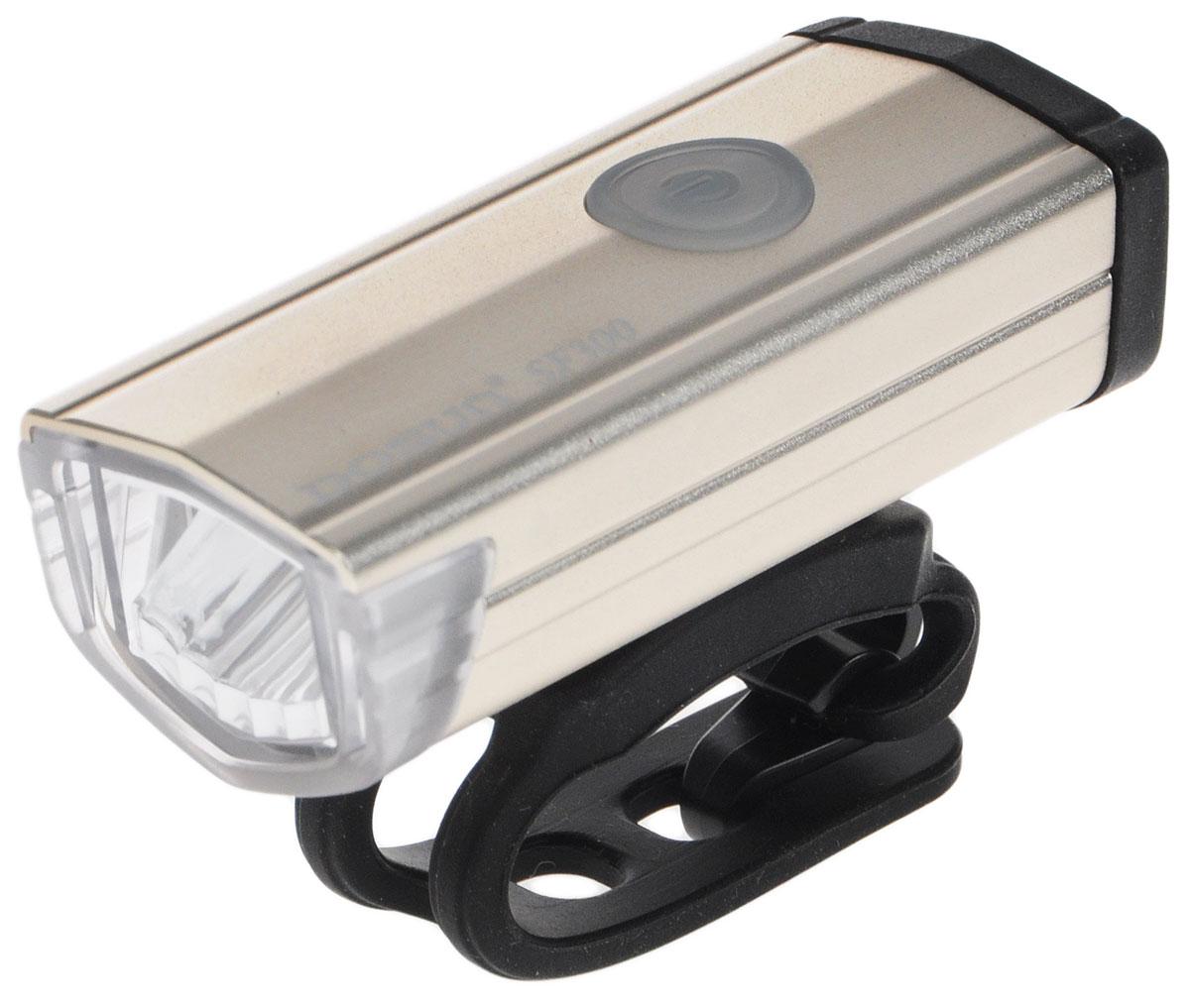 Фара велосипедная Dosun SF300, цвет: серебристый, черный1508160Надежная и удобная в эксплуатации фара Dosun SF300 предназначена для обеспечения большей безопасности при поездках в темное время суток. Заряжается от компьютера при помощи USB кабеля (входит в комплект). Оснащена ярким светодиодом мощностью 300 Лм. Устанавливается на основание диаметром 20-40 мм. Имеет прочный алюминиевый водонепроницаемый корпус, устойчивый к царапинам. Удобная конструкция фары позволяет быстро устанавливать ее на руль или снимать. Фара работает в 5 режимах: 3 вида яркости, мигание, быстрое мигание.Время свечения в разных яркостях: 1 ч, 3 ч, 6 ч.Время мигания: 12 ч.Время быстрого мигания: 60 ч.Время зарядки: 2,5 ч.Размер фары (без учета крепления): 6,7 х 2,7 х 2,2 см.