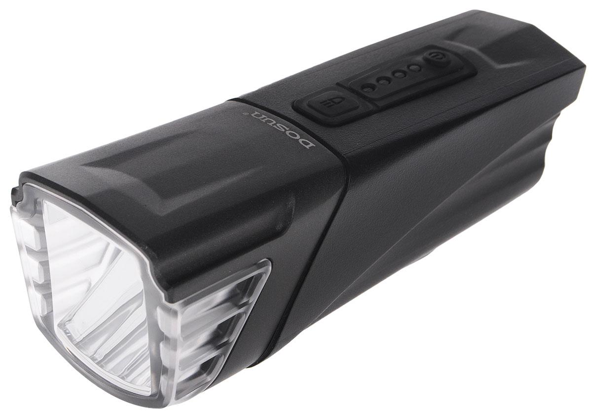 Фара велосипедная Dosun AF500, с зарядкой от USB1508160Надежная и удобная в эксплуатации фара Dosun AF500 предназначена для обеспечения большей безопасности при поездках в темное время суток. Заряжается от компьютера при помощи USB кабеля (входит в комплект). Оснащена ярким светодиодом мощностью 500 Лм. Устанавливается на основание диаметром 25,4-31,8 мм. Имеет прочный водонепроницаемый корпус, устойчивый к царапинам. Удобная конструкция фары позволяет быстро устанавливать ее на руль или снимать. Изделие имеет функцию Power Bank. Фара работает в 4 режимах: 3 вида яркости, мигание.Время свечения в разных яркостях: 2 ч, 4 ч, 8 ч.Время мигания: 120 ч.Время зарядки: 6 ч.Емкость аккумулятора: 2500 мАч.Размер фары (без учета крепления): 11,5 х 4,5 х 4,5 см.