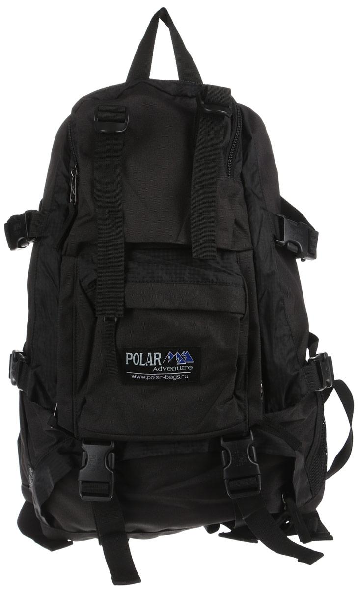 Рюкзак городской Polar, 16 л, цвет: черный. П956-05П956-05Удобный вместительный рюкзак для всего самого необходимого на отдыхе. Жесткая спинка и удобные лямки повторяющие форму плеча с дополнительной грудной и поясничной стяжками позволяет уменьшить нагрузку на спину и сделает ваш отдых максимально комфортным. Большое отделение с дополнительным карманом на молнии (кошелек, документы) внутри. С внешней стороны расположены стяжки для регулирования объема. Два боковых кармана (правый на молнии, левый из сетки), карман для обуви, три небольших кармана для мелких вещей, один из которых с клапаном и двумя вертикальными молниями застежками и дополнительными отделениями. Рюкзак выполнен из прочного полиэстера с водоотталкивающей пропиткой.