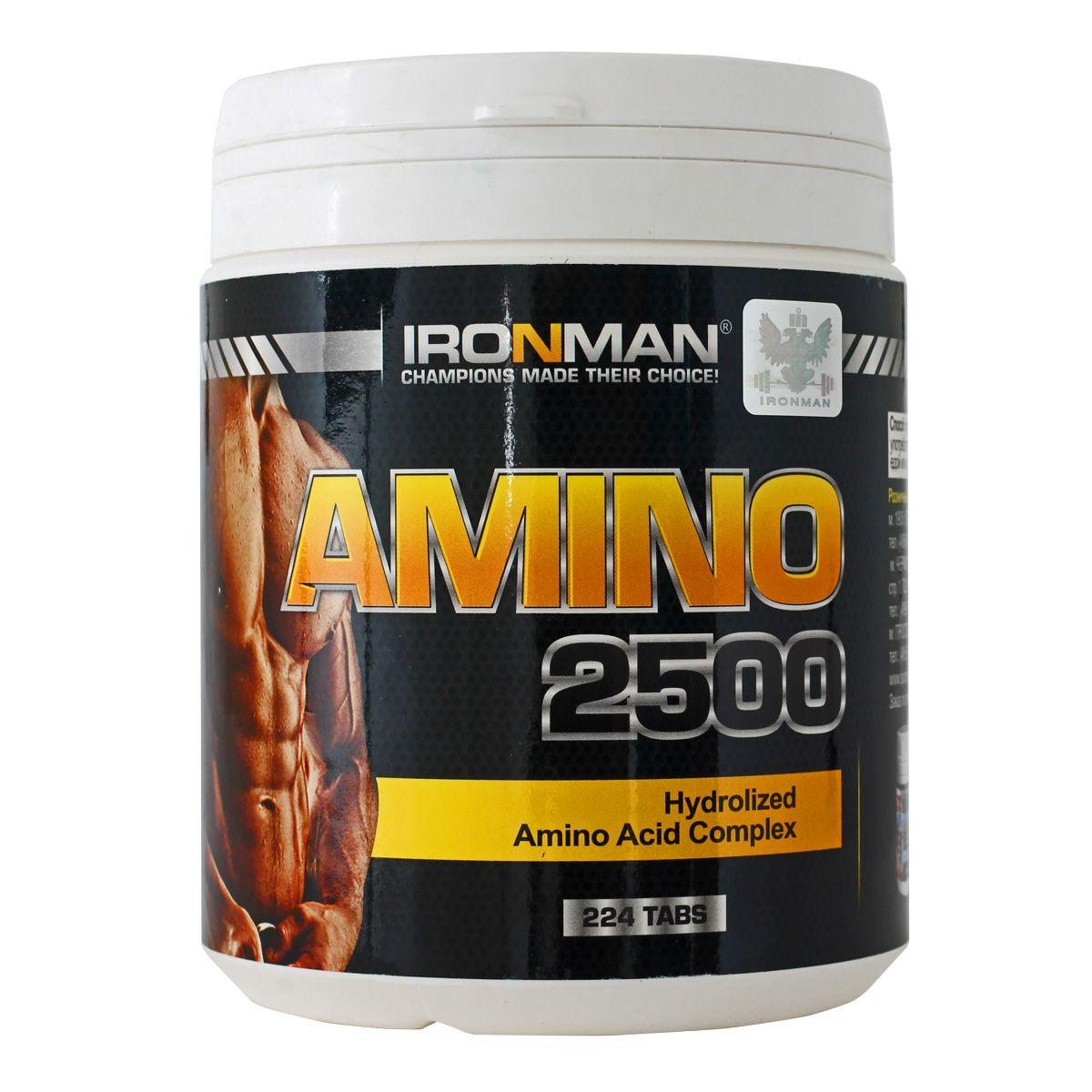 Ironman Амино 2500, 224 таблеток4607062756300Amino 2500 - это научно-сбалансированный источник аминокислот, позволяющий эффективно восстановить аминокислотный баланс в мышцах, в том числе после интенсивной тренировки. Amino 2500произведен из сывороточных белков и обладает наивысшей биологической ценностью благодаря полному гидролизу до свободных аминокислот, ди- и трипептидов. В комплекс специально добавлен витамин В6, способствующий эффективному усвоению аминокислот. Применение комплекса Amino 2500 должно быть увязано с программой питания и тренировок. И таблетки, и капсулы легко проглатываются. Продукт не содержит искусственных красителей и добавок Состав: Белок 2,5 г, калории 0,5 кКал, L-Карнитин 10 мг , Витамин В6 12,5 мг Аминокислотный состав в 2-х таблетках: Аланин 135 мг,аргинин 63 мг, аспарагиновая кислота 260 мг, *валин 145 мг, *гистидин 43 мг, глицин 45 мг, глютаминовая кислота 428 мг, *изолейцин 158 мг, *лейцин 263 мг, *лизин 218 мг, *метионин 45 мг, пролин 250 мг, серин 110 мг, *треонин 168 мг, *триптофан 40...