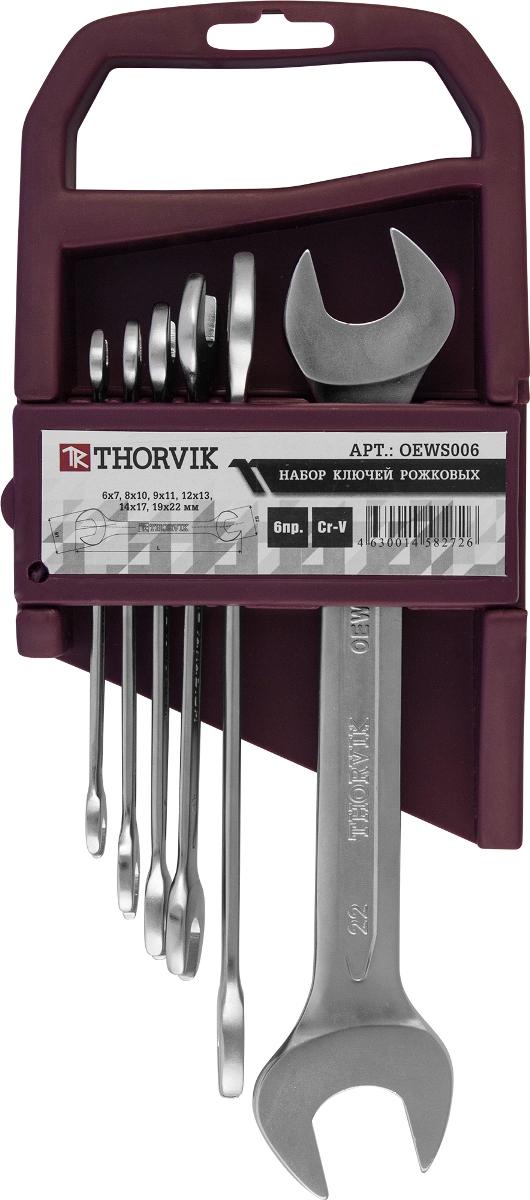 Набор ключей рожковых Thorvik, 6 предметовOEWS006Набор рожковых ключей Thorvik станет отличным помощником монтажнику или владельцу авто. Этот набор обеспечит надежную фиксацию на гранях крепежа. Ключи изготовлены из хромованадиевой стали. В набор входят пластиковый держатель и ключи на 6 х 7 мм, 8 х 10 мм, 9 х 11 мм, 12 х 13 мм, 14 х 17 мм, 19 х 22 мм.