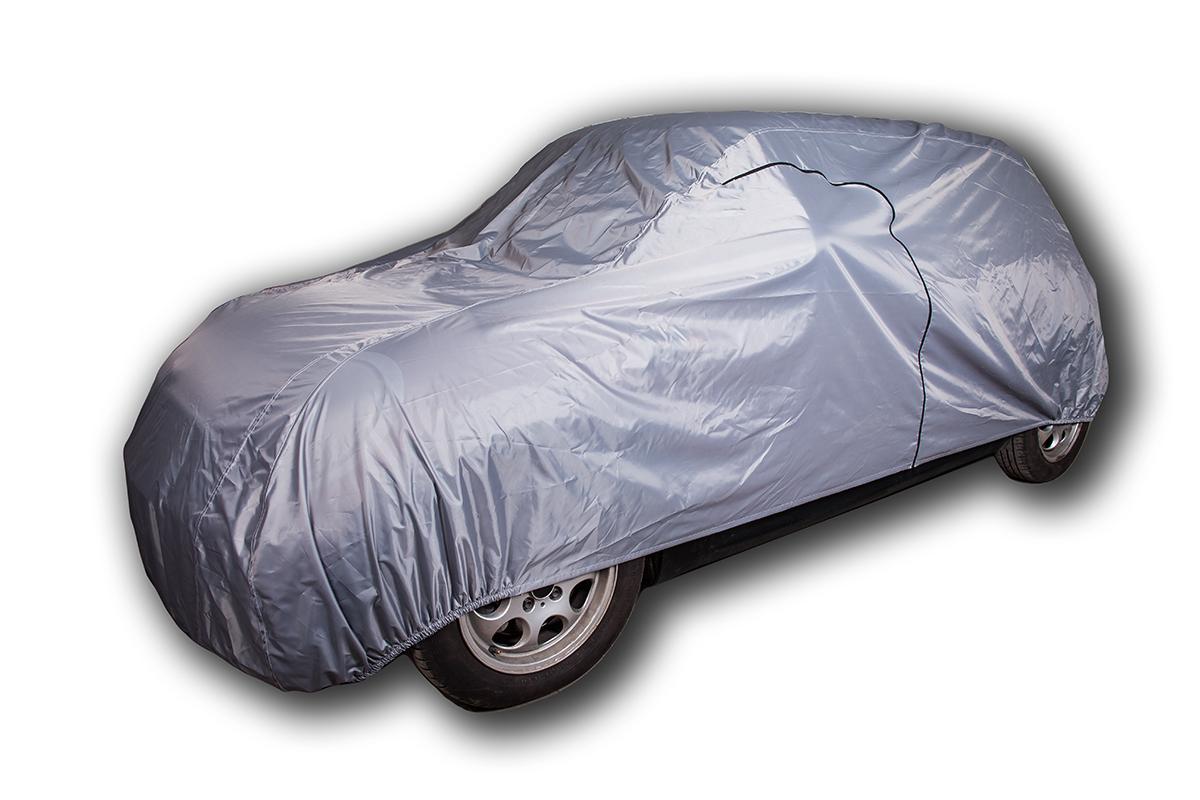 Защитный тент-чехол AvtoTink автомобильный, размер L, 480-500 x 178 x 120 см1103• Молния для двери водителя • Материал: «Oxford» • Двойной шов • Дышащий материал Серебристая окраска служит прекрасным светоотражателем Вшитые резинки стягивают нижний край тента под обоими бамперами 100% водонепроницаемый Размер L : 480-500х172х120