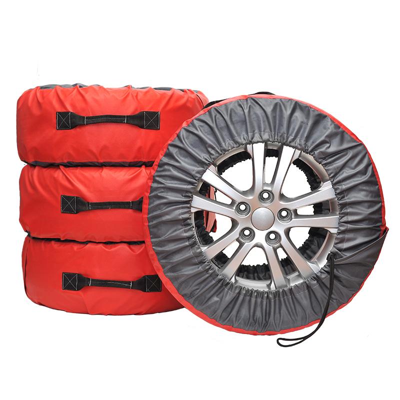 Чехлы для хранения автомобильных колес AvtoTink Премиум XL, от 16 до 22, 4 шт84001/1Чехлы Премиум выполнены из двух видов контрастной ткани, отличающихся по плотности. Кордовая часть чехлы выполнена из уплотненной ткани Оксфорд красного цвета. Высокая плотность ткани позволяет увеличить срок использования чехла при хранении и транспортировке даже шипованой резины. Ручка выполнена из материала Стропа. Надежная крестовая отстрочка выдержит высокие нагрузки, при транспортировки колес максимального радиуса. Чехол оснащен удобным карманом для хранения крепежных болтов или необходимой документации. Размер чехлов регулируется при помощи фиксаторов шнуров и широкой липучке-застежки. Подходит для колес диаметром от 670 мм до 810 мм