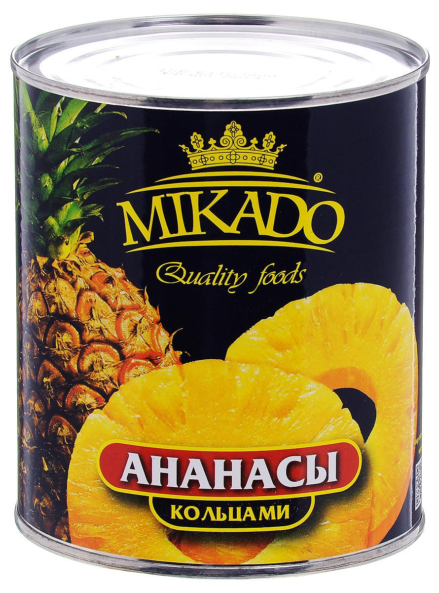 Mikado ананасы кольцами в сиропе, 850 мл4007415005503Ананасы Mikado в нежном сладком сиропе, резанные колечками, станут вкусным и полезным лакомством для вас и вашей семьи.