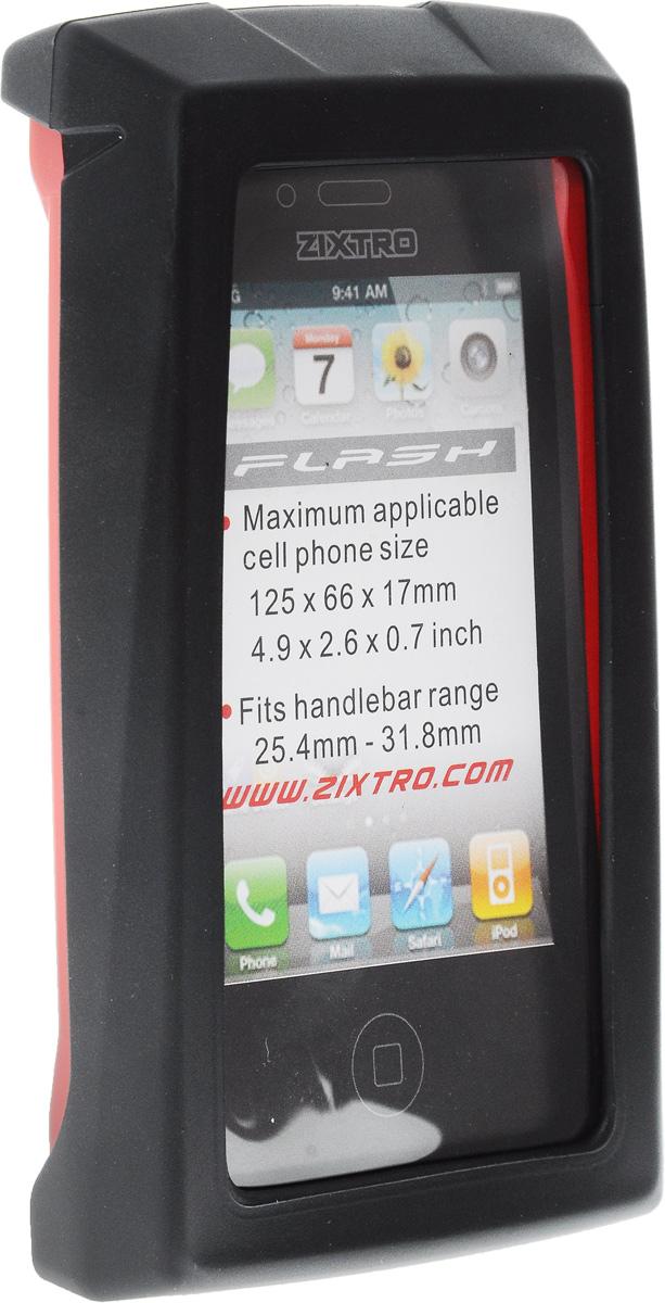 Чехол для смартфона на руль BiKase Flash, водонепроницаемый, цвет: черный, красный, прозрачный, 13,5 х 8 х 3 смZ1-055Водонепроницаемый чехол BiKase Flash позволит пользоваться гаджетом в любых погодных условиях. Устанавливается на руль при помощи поворачивающейся системой крепления. Возможность пользования всеми кнопками телефона и системой навигации. Максимальный размер применяемого гаджета: 12,5 х 6,6 х 1,7 см. Диаметр руля: 25,4-31,8 мм. Размер чехла (с учетом крепления): 13,5 х 8 х 9 см. Размер чехла (без учета крепления): 13,5 х 8 х 3 см.