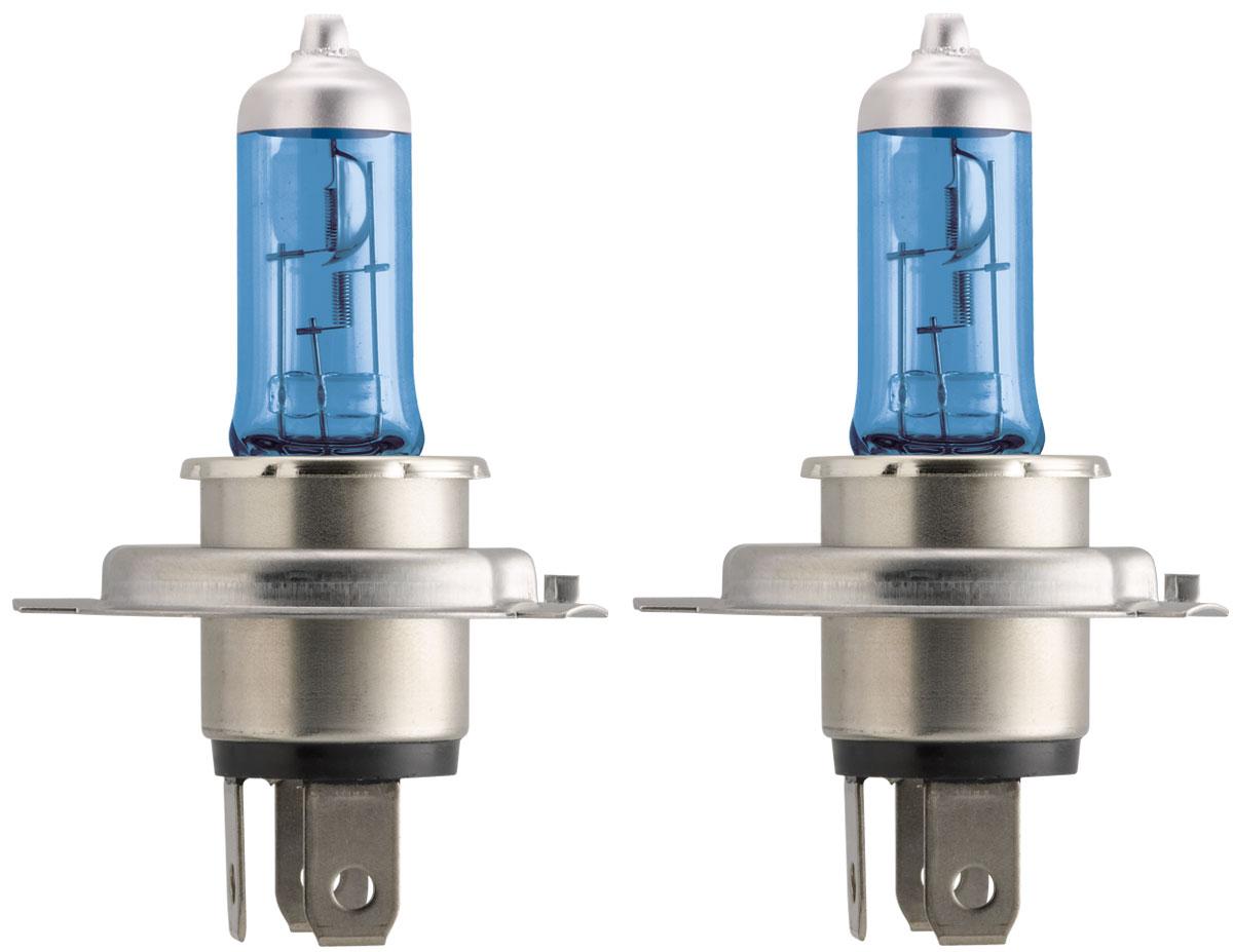 Лампа автомобильная галогенная Philips Crystal Vision, для фар, цоколь H4 (P43t), 12V, 60/55W, 2 шт + цоколь W5W, 12V, 5W, 2 шт12342CVSMАвтомобильная галогенная лампа Philips CrystalVision произведена из запатентованного кварцевого стекла с УФ фильтром Philips Quartz Glass. Кварцевое стекло Philips в отличие от обычного твердого стекла выдерживает гораздо большее давление смеси газов внутри колбы, что препятствует быстрому испарению вольфрама с нити накаливания. Кварцевое стекло выдерживает большой перепад температур, при попадании влаги на работающую лампу изделие не взрывается и продолжает работать. Лампы Philips CrystalVision имеют мощный белый свет с цветовой температурой 4300К. Разработаны для водителей, которым необходимо яркое освещение на дороге и важен индивидуальный стиль. Увеличенная светоотдача позволяет гораздо лучше различать дорожные знаки и препятствия. Лампы подходят для всех погодных условий, особенно ощутимый визуальный комфорт при поездках в ночное время. Автомобильные галогенные лампы Philips удовлетворят все нужды автомобилистов: дальний свет, ближний свет, передние...