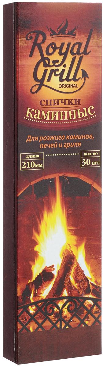 Спички RoyalGrill, каминные, длина 21 см, 30 шт80-135Спички RoyalGrill предназначены для розжига каминов, печей и гриля. Отлично загораются, их удобно держать в руке с минимальным риском ожогов. Состав: древесина, зажигательный состав. Длина спички: 21 см. Количество: 30 шт.
