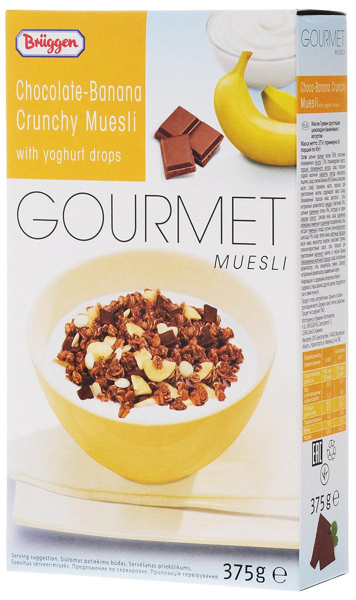Gourmet Jovita мюсли шоколад банан йогурт, 375 г0120710Мюсли Gourmet Jovita с шоколадом и бананом изготовлены из лучших сортов злаков, содержат кусочки банана, пластинки обезжиренного йогурта, пластинки миндаля, кокосовую стружку, и кусочки молочного шоколада.