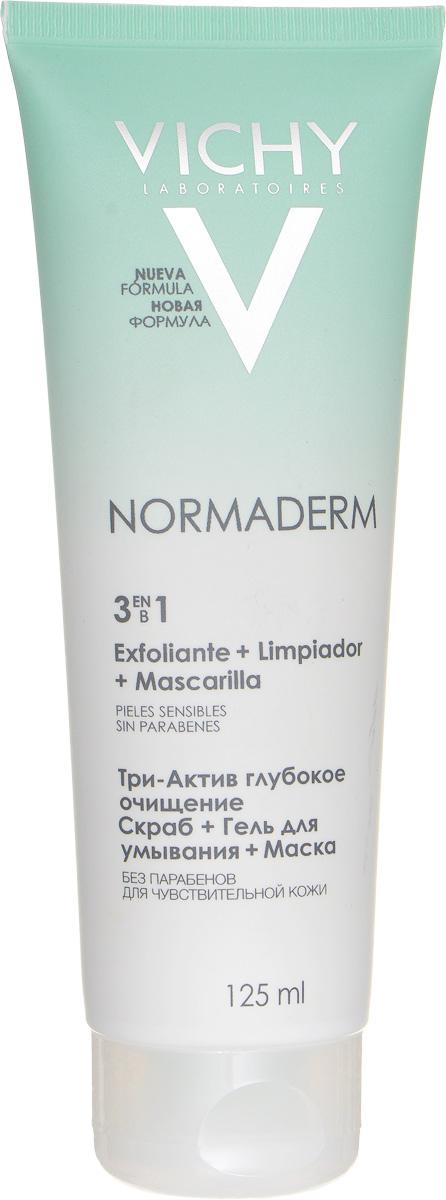Vichy Глубокое очищение 3 в 1 гель + скраб + маска для лица Normaderm, 125 млM3502900Сочетание активных пилинг-ингредиентов, успокаивающих компонентов и 25%-ой концентрации глины в текстуре гель-крема для глубокого очищения проблемной кожи. Один продукт Vichy Normaderm 3-In-1 Cleanser Scrub Mask с тремя функциями: 1. Гель для умывания: устраняет жирный блеск и предотвращает появление воспалительных элементов. 2. Скраб: очищает поры, устраняет черные точки. 3. Маска: матирует и выравнивает поверхность кожи.