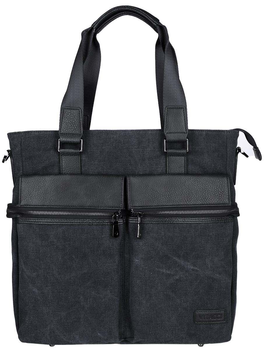 Сумка мужская Vitacci, цвет: темно-серый, черный. MW074MW074Стильная мужская сумка Vitacci идеально подойдет под ваш образ. Она выполнена из качественного текстиля и комбинирована вставками из искусственной кожи. Изделие оформлено в оригинальном дизайне. На лицевой стороне расположено два открытых кармана и два кармана на молнии. На тыльной стороне сумки расположен вшитый карман на молнии. Внутри расположено вместительное отделение, которое включает в себя один вшитый карман на молнии, два открытых кармана для мелочей и карман с утолщенной стенкой, который закрывается хлястиком на кнопку. Сумка оснащена удобным плечевым ремнем, длина которого регулируется с помощью пряжки. Такая модная и удобная сумка станет незаменимым аксессуаром в вашем гардеробе.