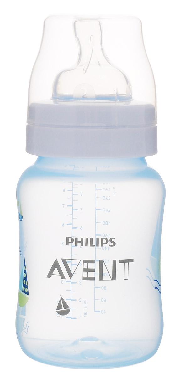 Philips Avent Бутылочка голубая c рисунком (Кораблик), Classic+, 260 мл, 1шт SCF573/12