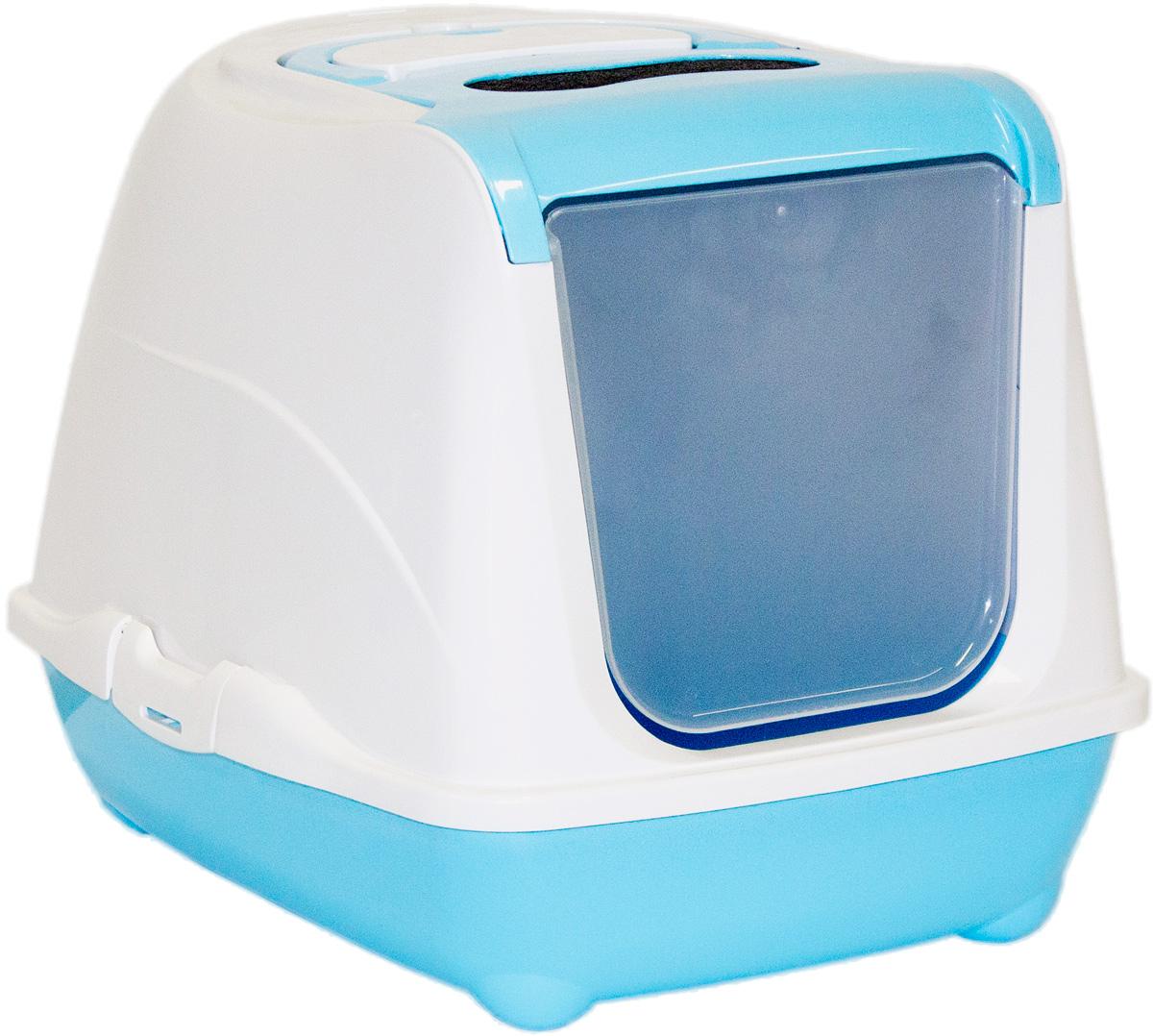 Туалет закрытый для кошек Moderna Flip Cat, цвет: голубой, 39х50х37 см14C230181