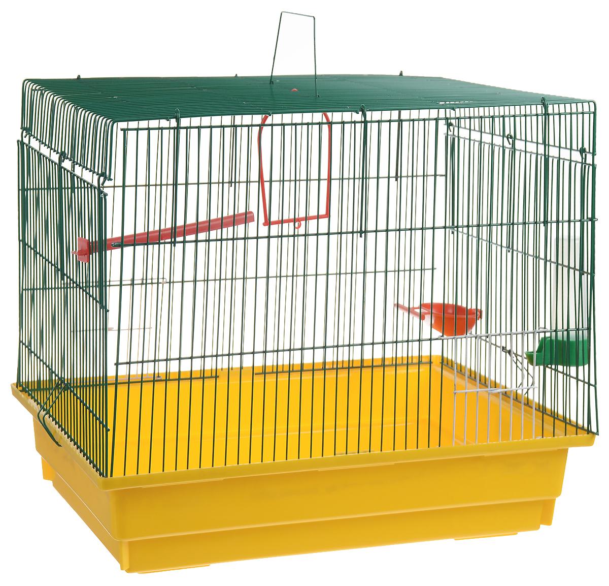 Клетка для птиц ЗооМарк, цвет: желтый поддон, зеленая решетка, 50 х 31 х 41 см0120710Клетка ЗооМарк, выполненная из полипропилена и металла с эмалированным покрытием, предназначена для птиц.Изделие состоит из большого поддона и решетки. Клетка снабжена металлической дверцей. Она удобна в использовании и легко чистится. Клетка оснащена жердочкой, кольцом для птицы, поилкой, кормушкой и подвижной ручкой для удобной переноски. Комплектация: - клетка с поддоном, - поилка; - кормушка;- кольцо.