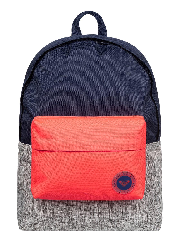 Рюкзак женский Roxy Sugar Baby Colorblock, цвет: синий, серый, оранжевый. ERJBP03263-BSQ0BP-001 BKЖенский рюкзак Roxy выполнен из текстиля. У модели одно основное отделение. Передний карман на молнии. Рюкзак с регулируемыми набивными заплечными ремнями.